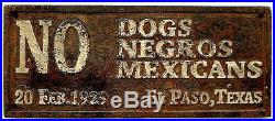1-Colored Waiting Room & 1-No Dogs, Negros, Mexicans cast iron signs #combo5