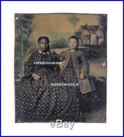 13. A 3 1/4 X 2 3/4 Alexandria Va Tintype Of White Child & Negro Nanny