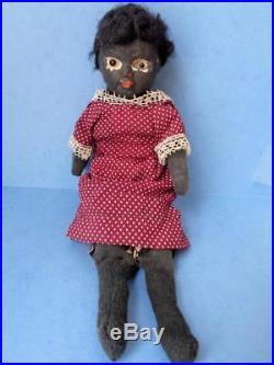1800s Primitive Folk Art Doll Papier Mache Head Glass Eyes Cloth Black American