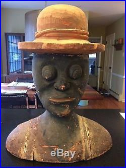 1800s RARE! EARLY FOLK ART AFRICAN AMERICAN ANTIQUE CARVED WOOD BUST SCULPTURE