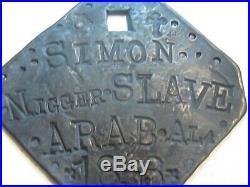 1853 Slave Tag Simon ARAB, ALA / J. B. E. / Lead-Pewter Octagon 2 1/2 X 2 1/2
