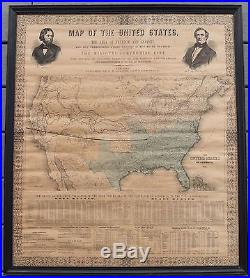 1856 Fremont U. S. Missouri Compromise Map & Slave Statistics By G. W. Elliott