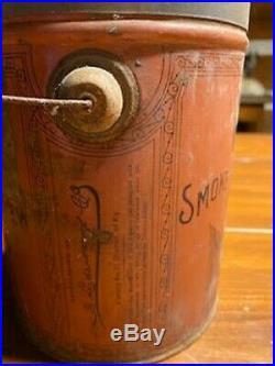 1860's BLACK AMERICANA SMOKING TOBACCO TIN LITHO ADVERTISING TIN PAIL with LID