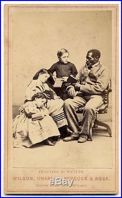 1864 CIVIL WAR WHITE BLACK SLAVE ABOLITION PROPAGANDA Learning is Wealth, PAXON