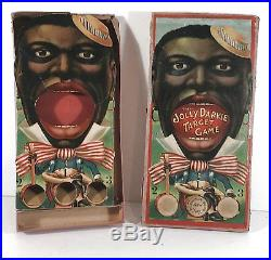 1880's BLACK AMERICANA BOXED CHROMOLITHOGRAPH GAME JOLLY (BLACK) TARGET GAME