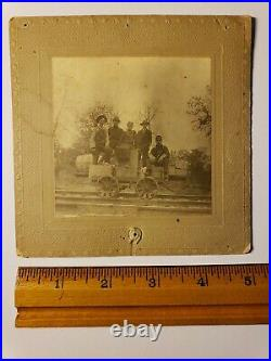 1880's BLACK GIRL ON RAILROAD HANDCAR with 4 WHITE MEN UNUSUAL CABINET CARD PHOTO