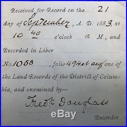 1883 Framed FREDERICK DOUGLASS SIGNED Deed of Release BLACK AMERICANA Slavery