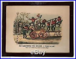 1885 Black Americana Currier & Ives Darktown Fire Brigade Chromolithograph Print