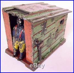 1885 J. &E. STEVENS CAST IRON 3.5 TALL CABIN w NEGRO MAN MECHANICAL BANK! WORKS