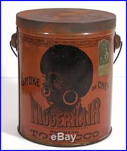 1890's BLACK AMERICANA / AFRICAN AMERICAN HAIR TOBACCO TIN PAIL TIN LITHOGRAPH