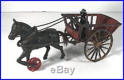 1890's BLACK AMERICANA CAST IRON HORSE DRAWN PLANTATION CART / HAY WAGON TOY