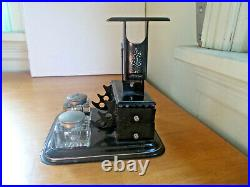 1890s DOUBLE GLASS INKWELL RELIANCE POSTAL SCALE & DRAWERS DESK SET PEN HOLDERS