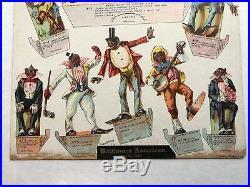 1898 Racist Black Minstrel Paper Doll Show 10 pieces Uncut