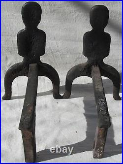18th C Puddle Cast Female Form Antique Andirons Attributed To Joseph Webb Boston