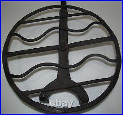 18th Century Wrought Iron Rotating Antique Roaster With Rat Tailed Handle