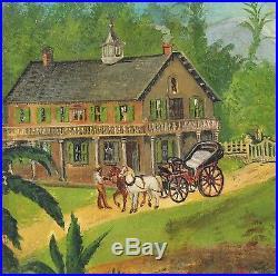 1900 Antique Black Americana Folk Art Southern Cotton Plantation Oil Painting