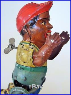 1920's Black Americana Poor Pete Tin Litho Wind Up Toy Germany Gunthermann 6.5