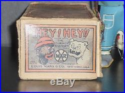 1920's US Made Marx Hey Hey The Chicken Snatcher Tin Wind Up Toy Near Mint in OB