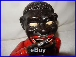 1920s Original Jolly Nier Cast Iron Yellow Tie Mechanical Bank Black Americana
