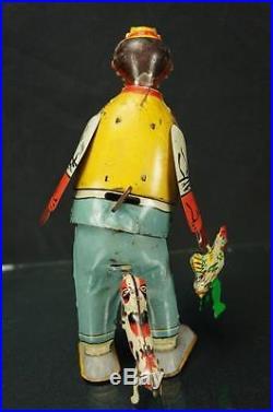 1920s Vintage Marx Hey Hey Chicken Snatcher Tin Wind Up Toy Black Americana