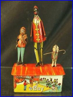 1921 Marx Charleston Trio Tin Wind Up Roof Dancing Jigger Toy Black Americana
