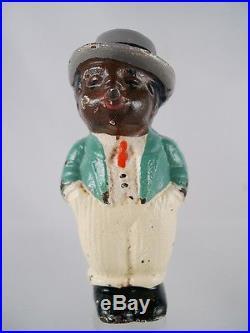 1930 Hubley Sambo African-American cast iron paperweight figure cigar smoker