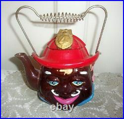 1930's Japan Black Americana Fireman Badge 4 Hand Painted Teapot