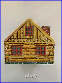 1930s Chein Tin Litho Black Americana Log Cabin & Singers Coin Bank WithKey