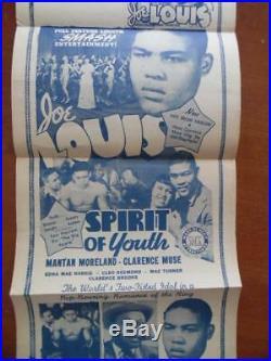 1938 SPIRIT OF YOUTH Joe Louis Boxing Movie Herald Poster Black Cast Vintage VG