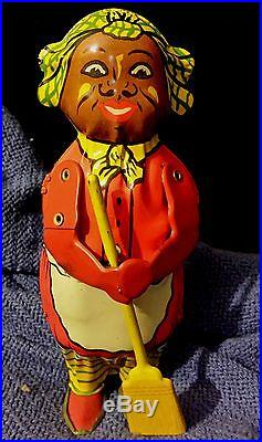 1940's Era Almost 8 Lithographed Tin Lindstrom Wind up Black Americana Toy /Box