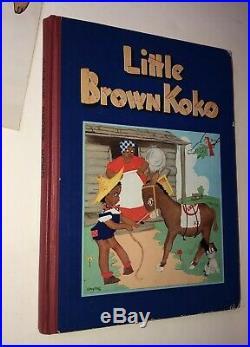 1940's Little Brown Koko CLOTH DOLL Black Americana vtg BOOK Blanche Seal Hunt