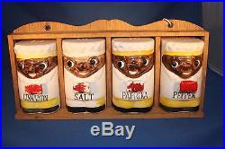 1950s Rare Black Aericana Smiling Chef Spice Set With Original Wooden Rack