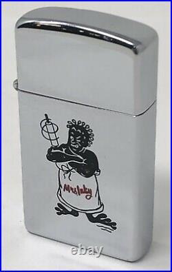 1958 Slim Zippo Character Advertising Lighter Mrs Inky Black Female Americana