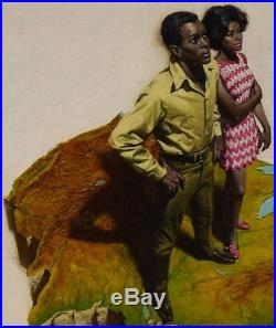 1960 The Black Americans Standing on US Map Illustration Art Oil on Board WOW