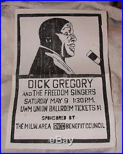 1964 DICK GREGORY Block Print POSTER Freedom Singers SNCC Milwaukee Civil Rights