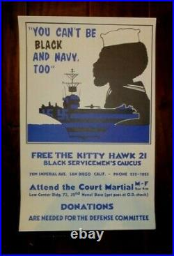 1972 Original Civil Rights & Vietnam Poster, You Can't Be Black And Navy Too