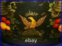19th C. AMERICANA TOLE TRAY JAPANNED FRUIT EAGLE HP STENCIL RARE ANTIQUE SIGNED
