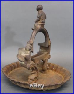 19thC Antique American Folk Art Black Boy Shoe Shine Cast Iron Boot Scraper