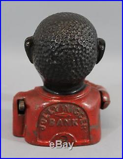 19thC Antique J E Stevens Black Americana Cast Iron Mechanical Bank JOLLY NIER
