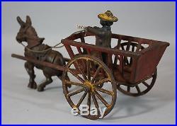 19thC Antique Painted Cast Iron Black Americana Mule Donkey Farmer Wagon Toy