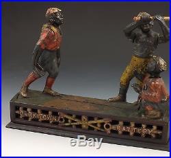 19thC J & E Stevens Dark Town Battery Black Americana Cast Iron Mechanical Bank