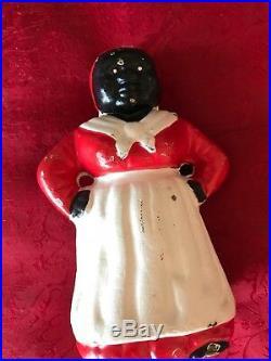 (2) Vintage Antique Black Americana 5 Cast Iron Aunt Jemima Coin Bank Polka Dot