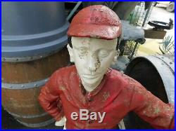 2x Antique 1900-20's Horse Lawn Jockey, Cast Iron withPaint 46 MATCHED PAIR LOOK