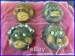 4 1940's Very Rare Black Americana Chalkware Movable Googly Eye String Holders
