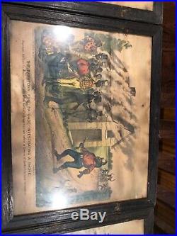 9 ANTIQUE RARE Darktown Fire Brigade Currier & Ives Black Americana Framed LOT