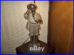 A. MOREAU VINTAGE AFRICAN AMERICAN RARE (BOY) LAMP TOP TO BASE 44