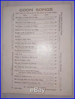 ALL COONS LOOK ALIKE TO ME 1896 Ernest Hogan SHEET MUSIC Black Americana