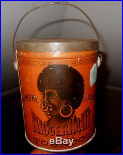 ANT RARE ORIGINAL1900s BLACK AMERICANA BIGGERHAIR SMOKING TOBACCO TINCOMPLETE
