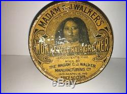ANTIQUE 1920's Black Americana Madame CJ Walker's Tin RARE