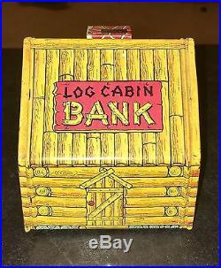 ANTIQUE BANK Tin Log Cabin by Chein Banjo Player and Pickaninny Black Americana